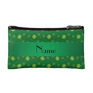 Personalized name green tennis balls cosmetics bags