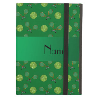 Personalized name green tennis balls case for iPad air