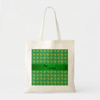 Personalized name green tennis balls pattern tote bag