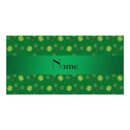 Personalized name green tennis balls photo greeting card