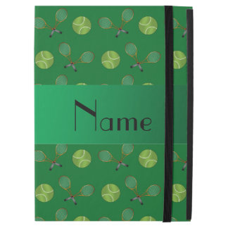 """Personalized name green tennis balls rackets iPad pro 12.9"""" case"""