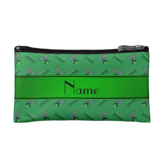 Personalized name green tennis rackets and nets cosmetic bag