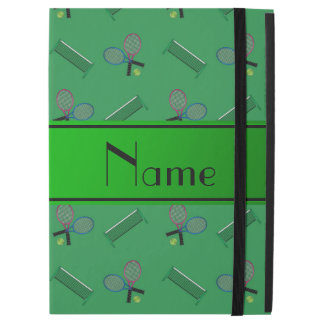 """Personalized name green tennis rackets and nets iPad pro 12.9"""" case"""