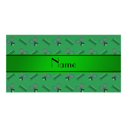 Personalized name green tennis rackets and nets photo cards