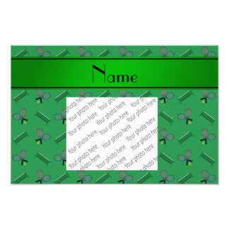 Personalized name green tennis rackets and nets photo print
