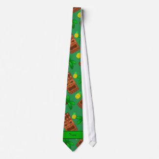 Personalized name green tiki pineapples palm trees tie