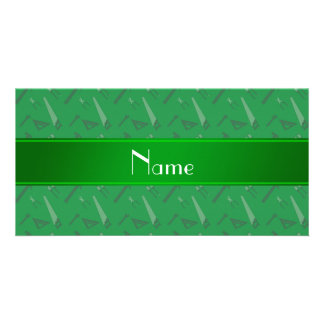 Personalized name green tools pattern photo card