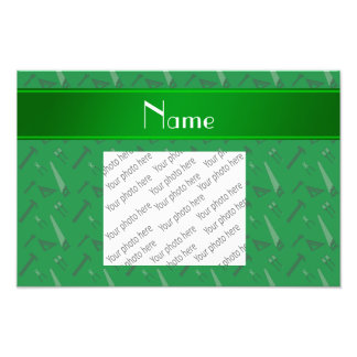 Personalized name green tools pattern photo print