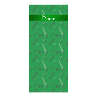 Personalized name green tools pattern rack card design