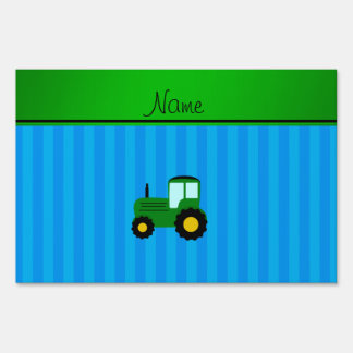 Personalized name green tractor blue stripes yard sign