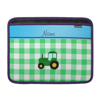 Personalized name green tractor green checkers MacBook air sleeve