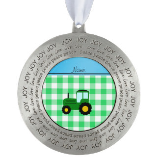 Personalized name green tractor green checkers round pewter christmas ornament