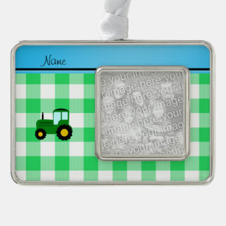 Personalized name green tractor green checkers silver plated framed ornament