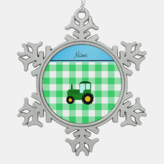Personalized name green tractor green checkers snowflake pewter christmas ornament