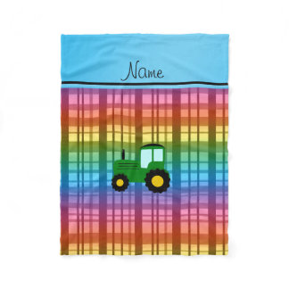 Personalized name green tractor rainbow plaid fleece blanket