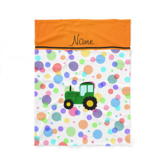 Personalized name green tractor rainbow polka dots fleece blanket
