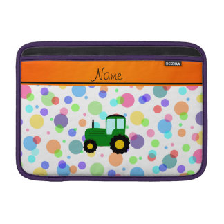 Personalized name green tractor rainbow polka dots MacBook air sleeve