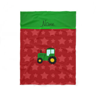 Personalized name green tractor red stars fleece blanket
