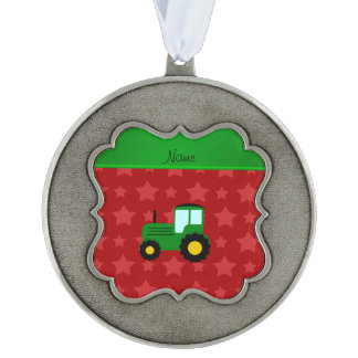 Personalized name green tractor red stars scalloped pewter christmas ornament