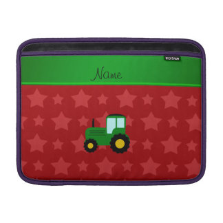 Personalized name green tractor red stars MacBook sleeve