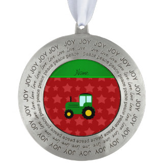 Personalized name green tractor red stars round pewter christmas ornament