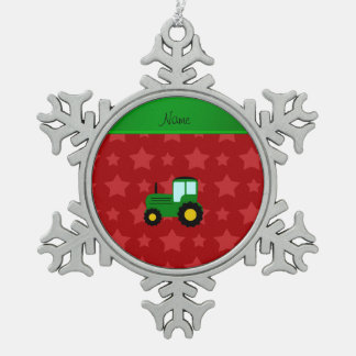 Personalized name green tractor red stars snowflake pewter christmas ornament
