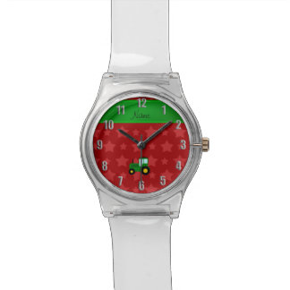 Personalized name green tractor red stars watch