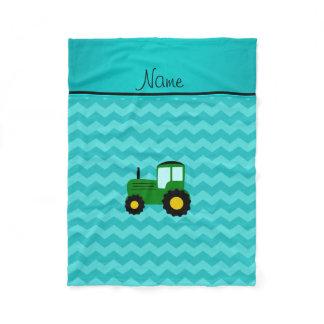Personalized name green tractor turquoise chevrons fleece blanket