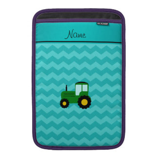 Personalized name green tractor turquoise chevrons MacBook air sleeve