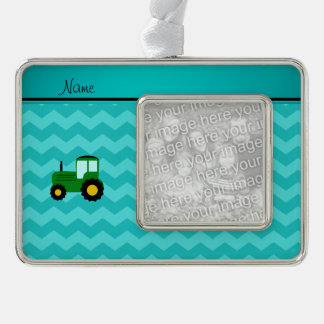 Personalized name green tractor turquoise chevrons silver plated framed ornament
