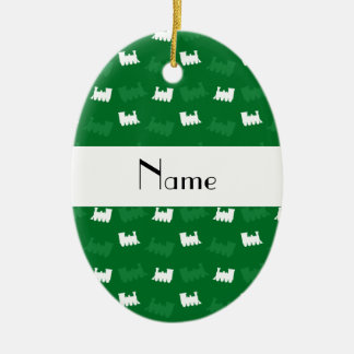 Personalized name green train pattern Double-Sided oval ceramic christmas ornament