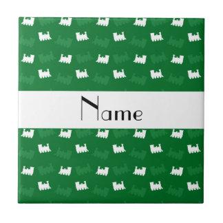 Personalized name green train pattern ceramic tile