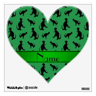 Personalized name green trex dinosaurs wall decals