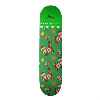 Personalized name green turkey's leaves skate boards