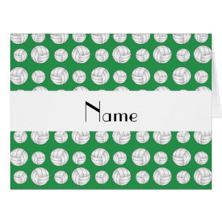Personalized name green volleyball balls card