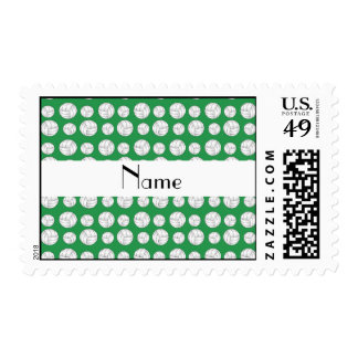 Personalized name green volleyball balls postage
