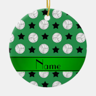 Personalized name green volleyball black stars ceramic ornament