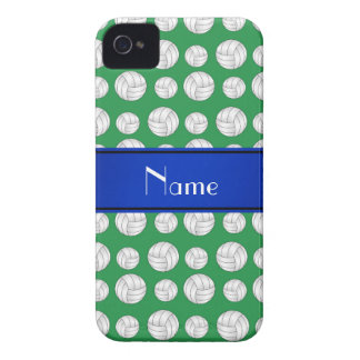 Personalized name green volleyball blue stripe iPhone 4 cases
