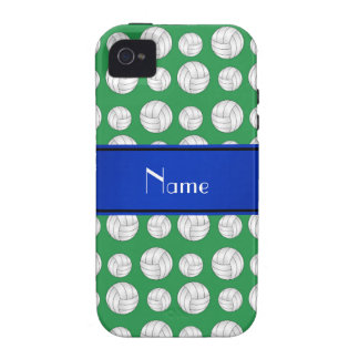 Personalized name green volleyball blue stripe Case-Mate iPhone 4 covers