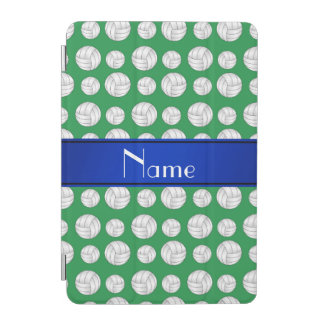 Personalized name green volleyball blue stripe iPad mini cover