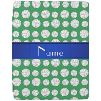 Personalized name green volleyball blue stripe iPad cover