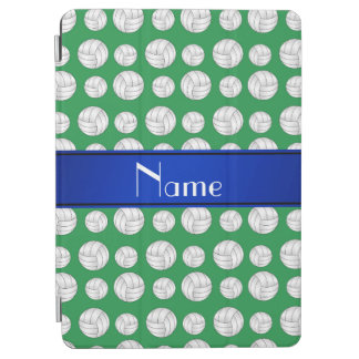 Personalized name green volleyball blue stripe iPad air cover