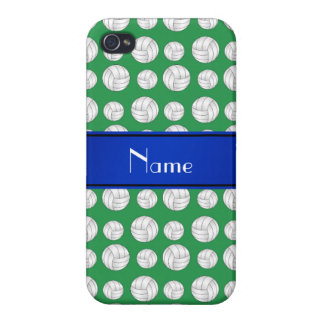 Personalized name green volleyball blue stripe iPhone 4 covers