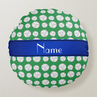 Personalized name green volleyball blue stripe round pillow