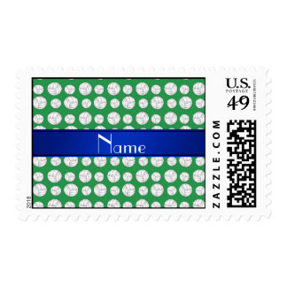Personalized name green volleyball blue stripe postage stamp