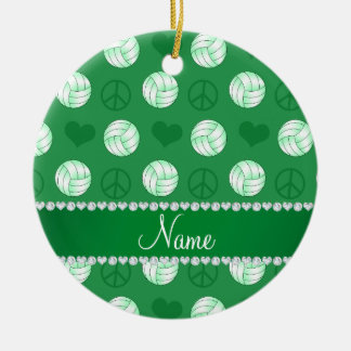 Personalized name green volleyballs peace hearts ceramic ornament