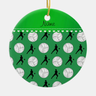 Personalized name green volleyballs silhouettes ceramic ornament