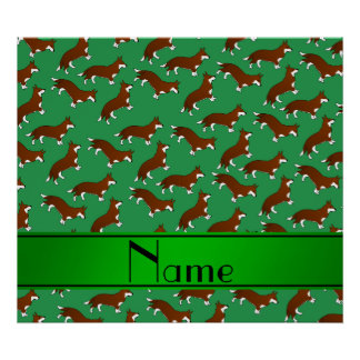 Personalized name green welsh corgi cardigan dogs poster