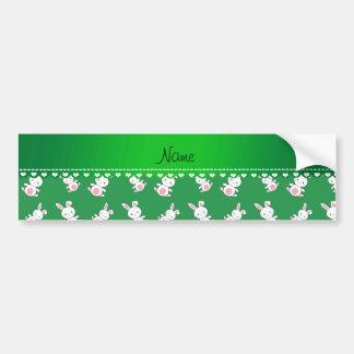 Personalized name green white bunnies car bumper sticker