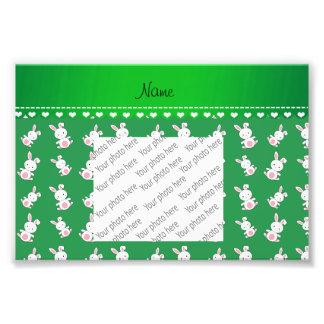 Personalized name green white bunnies photo print